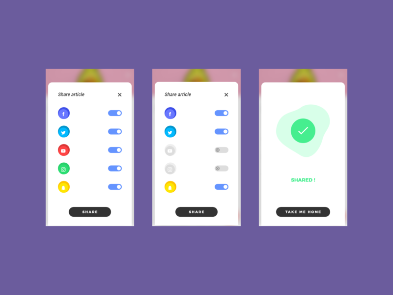 Eggfry - Social Share android app ios app vector trending graphics ui design ux web ui ux ui slider blur pop up rotate switcher success trending ui share buttons colors icons share social