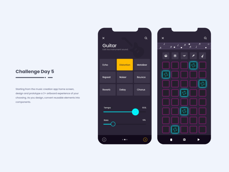 Music Creation App - Create your own song pink dark theme colorsandfonts icons material design ios app mobile app android app music player uxdesign music app guitar app sliders selection keyboard daily ui challenge uiux ui trending ui music creation app
