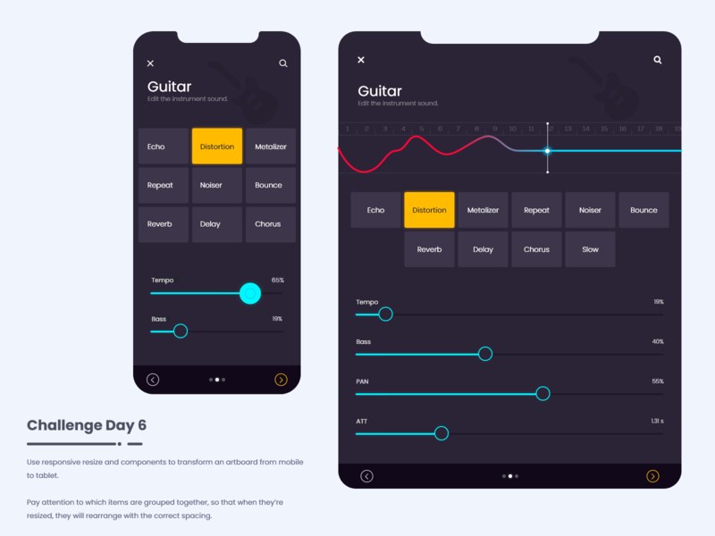 Music Creation App - Responsive app statusbar search steppers equilizer numbers line graph sliders buttons yellow pink theme responsive music creation app music app ios app android app mobile app responsive app trending ui uiux ui