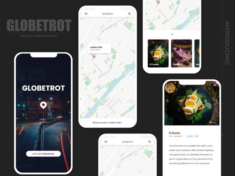 Globetrot - nearby app ios android buttons mobile web design local business location tracker android app ios app mobile app uiux ui restaurant food placec location map local globe