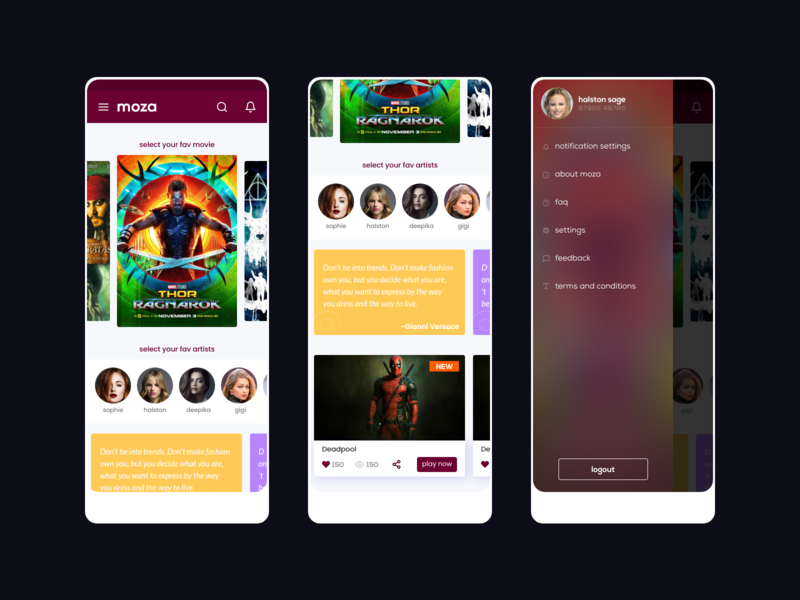 Moza - Movies and Cntests new colors interactiondesign icons qoutes slider carousel profile settings account blur uidesign buttons android app mobile app uiux cards ui cards contests movies