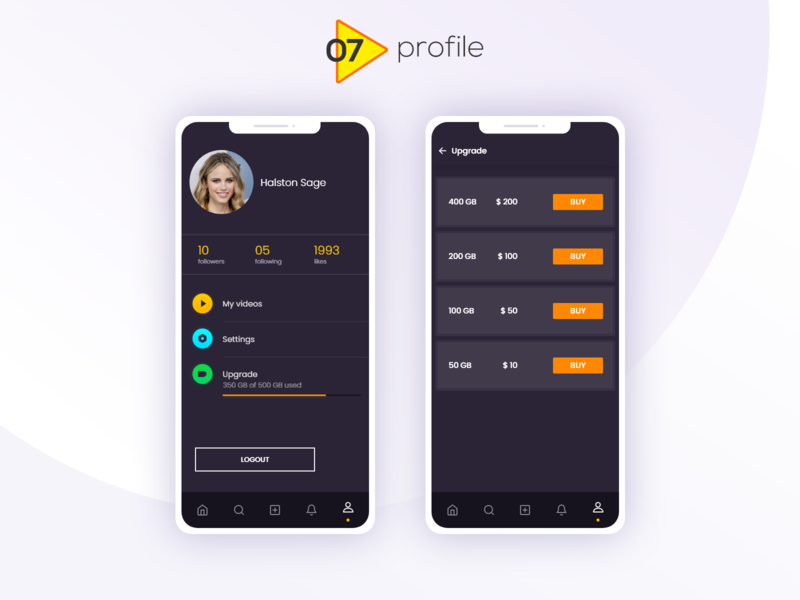 DADOS - Video Uploading App - Profile andoid app mobile application idea typography colors filter buttons tabs navigation video edit notification pop up profile video streaming dashboard video upload web application trending ui ux ui