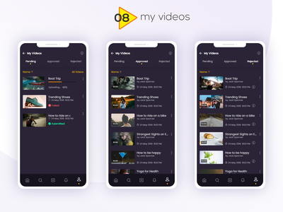 DADOS - Video Uploading App - My Videos andoid app mobile application idea typography colors filter buttons tabs navigation video edit notification pop up profile video streaming dashboard video upload web application trending ui ux ui