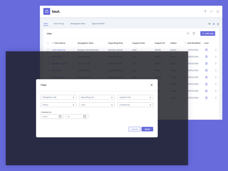 taut - user management app - filter cancel input fields dashboard row height line height add user tabe data pop up user management filter icons android mobile buttons graphic template web design ux ui