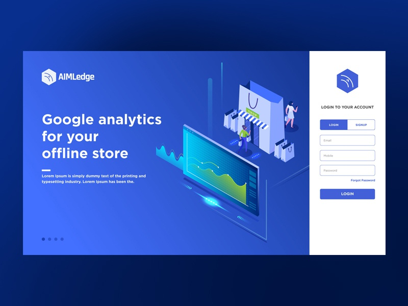 Landing Page Deisgn - AimLedge login page prototype layout security app software logo design logo branding website design landing page website app web typography ux icon design vector ui illustration