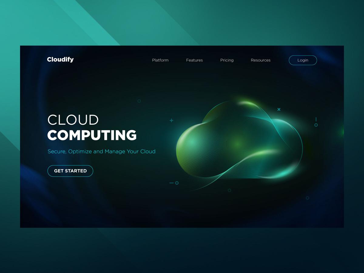 UI Design - Cloud Computing home page design web banner mockup website web ux typography design icon campaign vector ui illustration logo design logo branding data cloud cloud computing