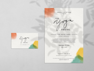 a couple of examples of The Yoga Social ⋒ flyer design leaflet design business card mockup yoga logo yoga wellness watercolor visual identity lettering logo lettering food logo event branding design branding and identity branding design branding
