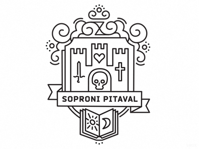 Black Chronicle of Five Centuries black and white line art coat of arms sopron hungary hourglass night day book cross sword skull