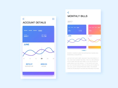 Financial APP investment statistics design curve ux ui recommend month fnancial card app