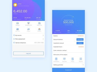 Finance APP finance join out sign progress icon integration personal card modular