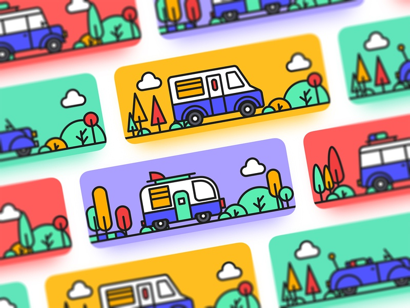 Travel Memorial Card car app illustration tree coupon cards yellow design violet cold blue