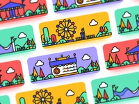 Travel Memorial Card green lovers happy roller coaster merry-go-round ferris wheel illustration card cold design ui playground
