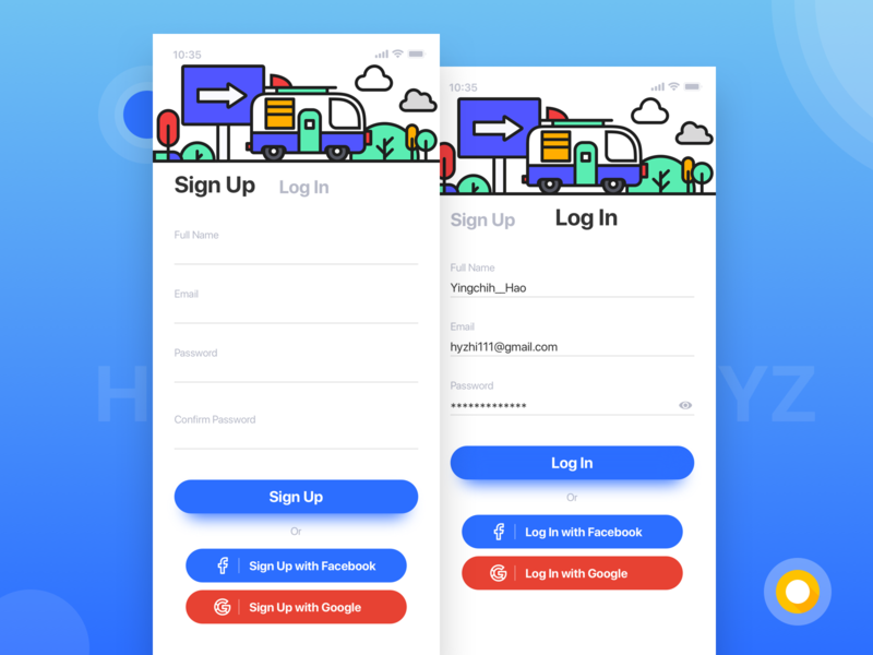 Travel APP log in ui app blue travel design illustration signup