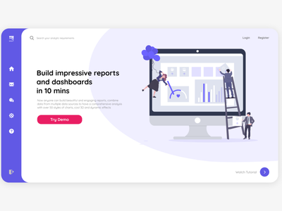 Analytic report landing screen icon logo minimal ux ui web website design figmadesign