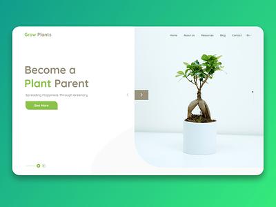 Grow plants landing page design landing page design figma design figma minimal design website ui ux web figmadesign