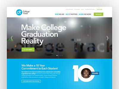 College Track bold design development responsive rwd homepage video non-profit npo