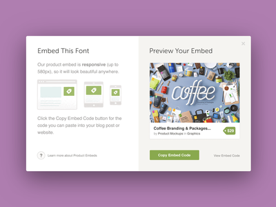 Product Embed product illustration product design embed modal
