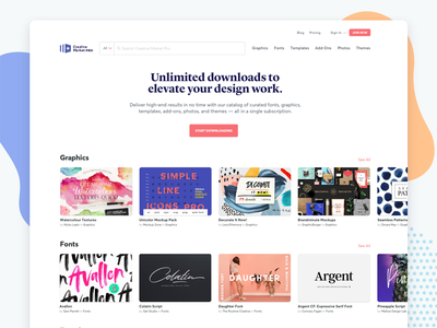 Creative Market Pro serif clean user generated content digital assets subscription marketplace