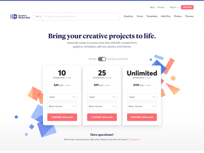 Creative Market Pro - Pricing Page digital assets serif clean saas pricing page pricing