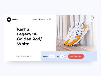 Karhu - Finnish simplicity typogaphy websites icon ux sneakers finnish header hero website minimal flat design ui
