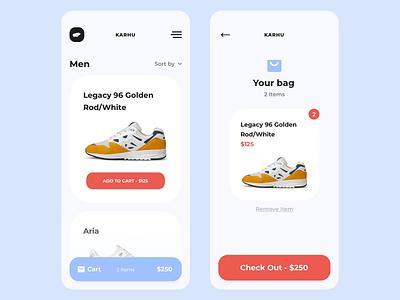 Karhu Mobile mobile minimal sneakers iphone ux wip app design ui