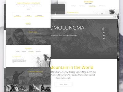 Chomolungma web design homepage landing page everest landingpage