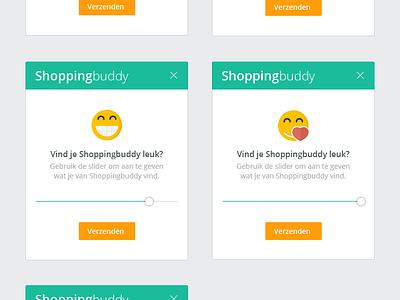Feedback slider for Shoppingbuddy ux web shoppingbuddy feedback emoji ui pop-up slider
