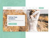 Hero section design for a yoga related website.