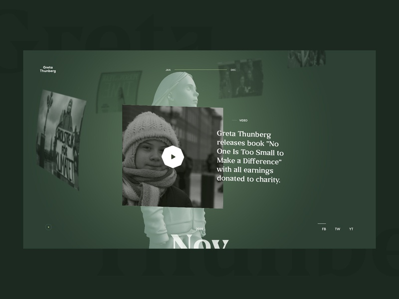 The Year of Greta Thunberg — Detail view overview year in review design interface ui webdesign websites web 3d sideproject timeline