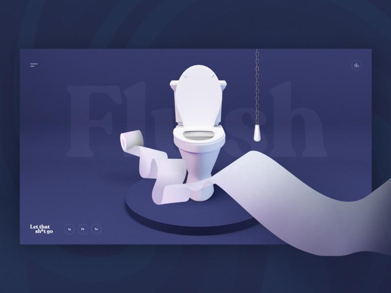 Poo Pourri — Let That Sh*t Go 3d website web ui shit poop poo let it go interface flush design campaign