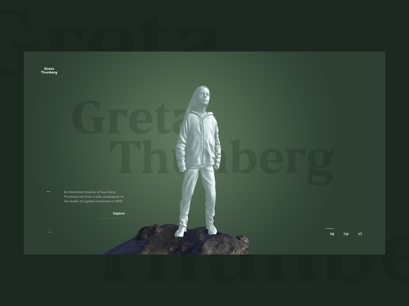 The Year of Greta Thunberg timeline sideproject 3d webdesign web website ui interface design