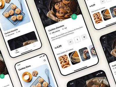Cookies store app UI Challenge food mockups interface appdesign ux uitrends ui inspiration designinspiration creative clean app design