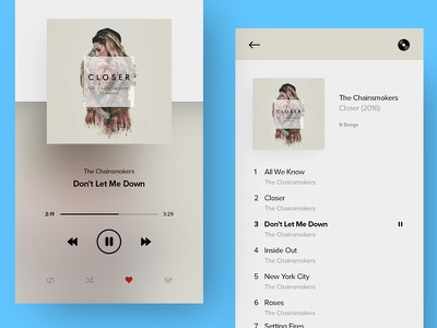 Music Player App shots flat mobile music clean simple ui