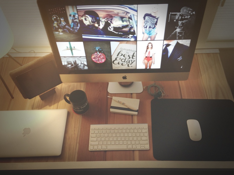 When I work from home... workspace remote workstation home mac design freelance creative desk