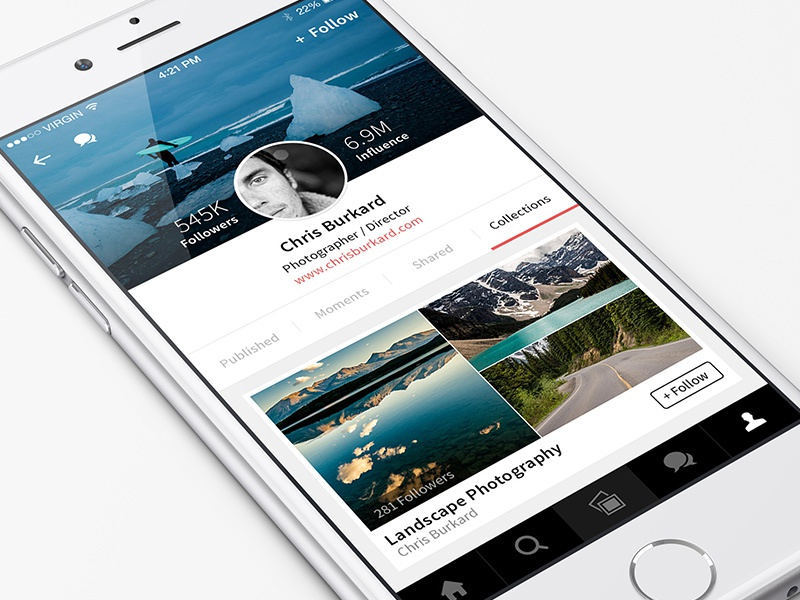 New Profiles in August august profile ios8 iphone6 app collections design ux ui
