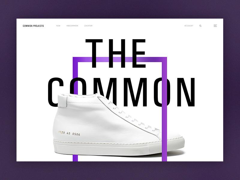 Common Projects Exploration shoes design ux ui clean white minimal common exploration