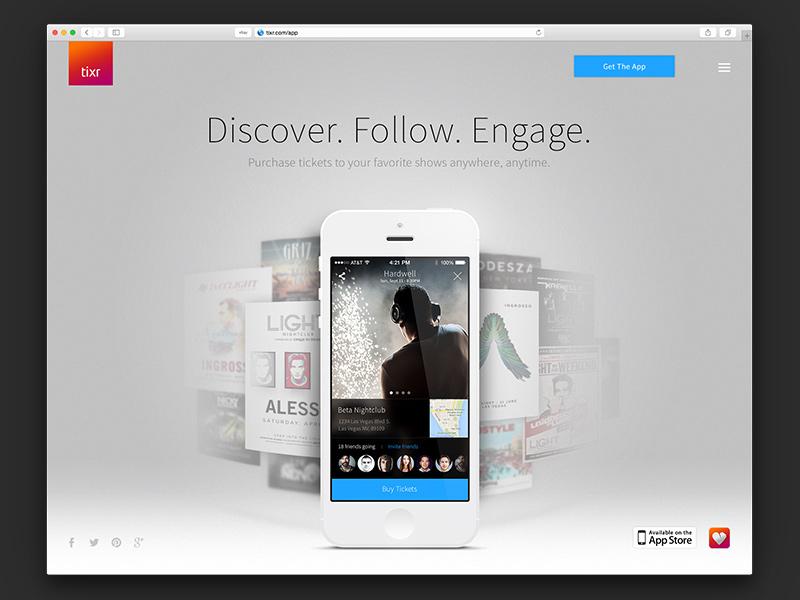 Tixr iOS app landing page design ui iphone ticketing events landing app ios tixr