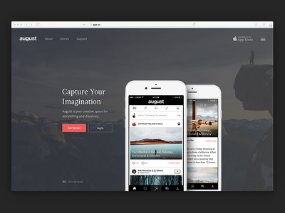 New August Landing Page photography iphone design marketing app ios scroll landing august