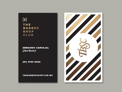 The Barber Shop Club branding identity business card