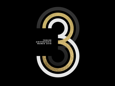 Third Anniversary three lines typography number