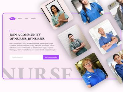 Online community for nurses - Landing page