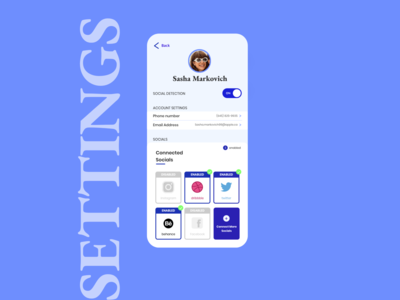 Dailyui Day 7 - Settings for Social Detection