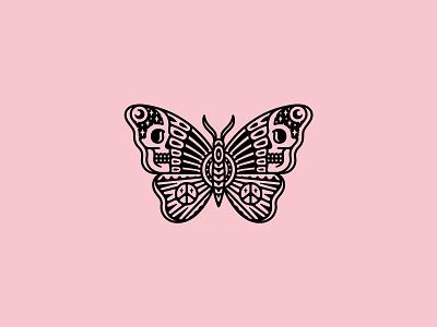 Peace butterfly skull logo design illustration band tattoo dooom merch