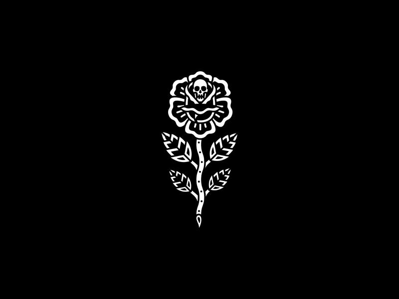 Rose skeleton rose tattoo merch band design dooom