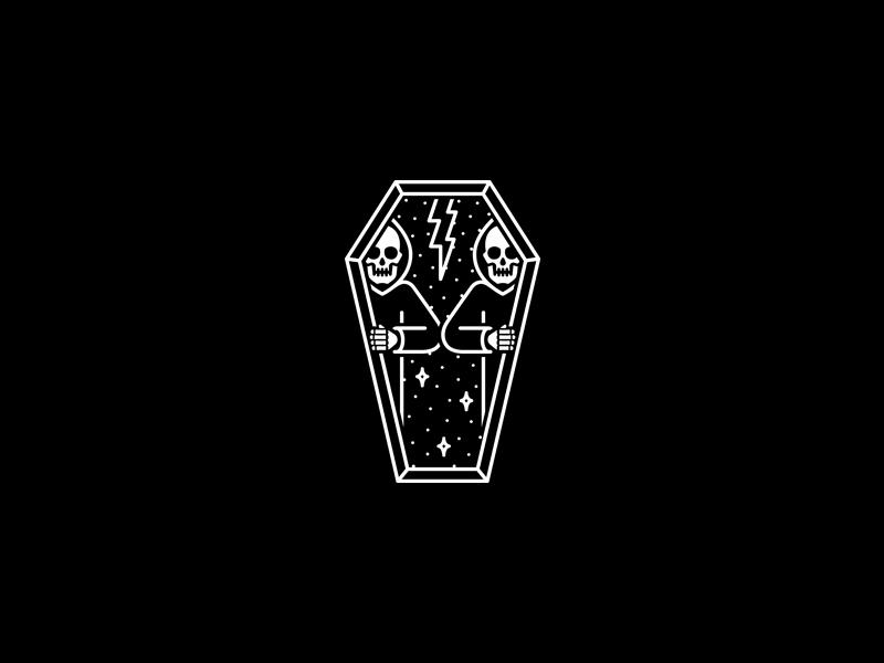 Coffin skeleton occult tattoo merch band design dooom