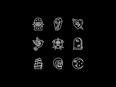 Occult skeleton merchandise occult vector icons set icons illustration tattoo merch design dooom