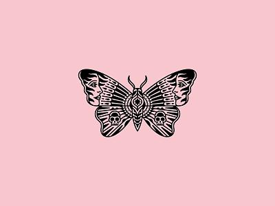 Butterfly skull occult merchandise skeleton illustration band tattoo design merch dooom