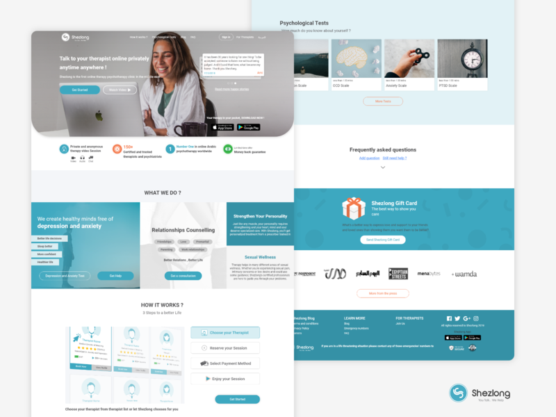 Shezlong Online Therapy - Home Page homepage landing page uxui webdesign uxdesign design illustration branding ux ui