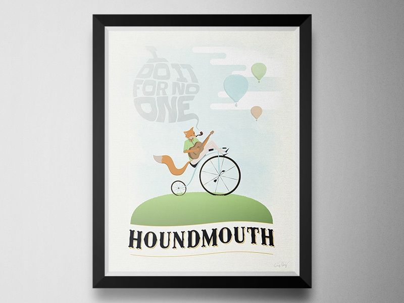 Houndmouth Poster poster music for no one hot air balloons pipe smoke guitar fox bicycle band louisville houndmouth