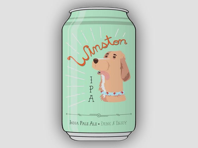 Winston IPA can winston canine ipa beer dog retriever golden retriever